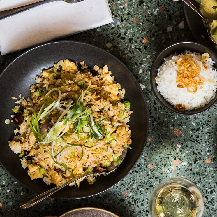Chinese-Style Fried Rice | Chinese pork sausage, eggs, red onion, ginger, shallots, soy & sesame oil (GF) | 12 // Steamed Rice | 3pp