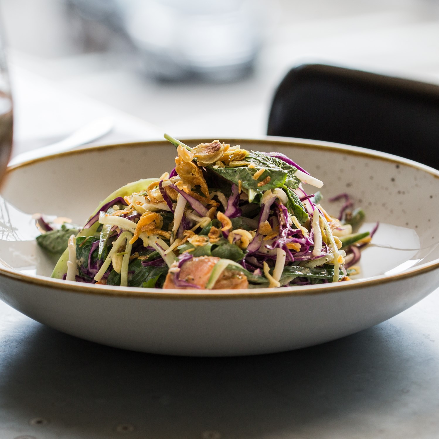 Grilled Ocean Trout | red cabbage, cucumber, bean sprouts, Asian herbs, mirin dressing (V & VE options available) | 23