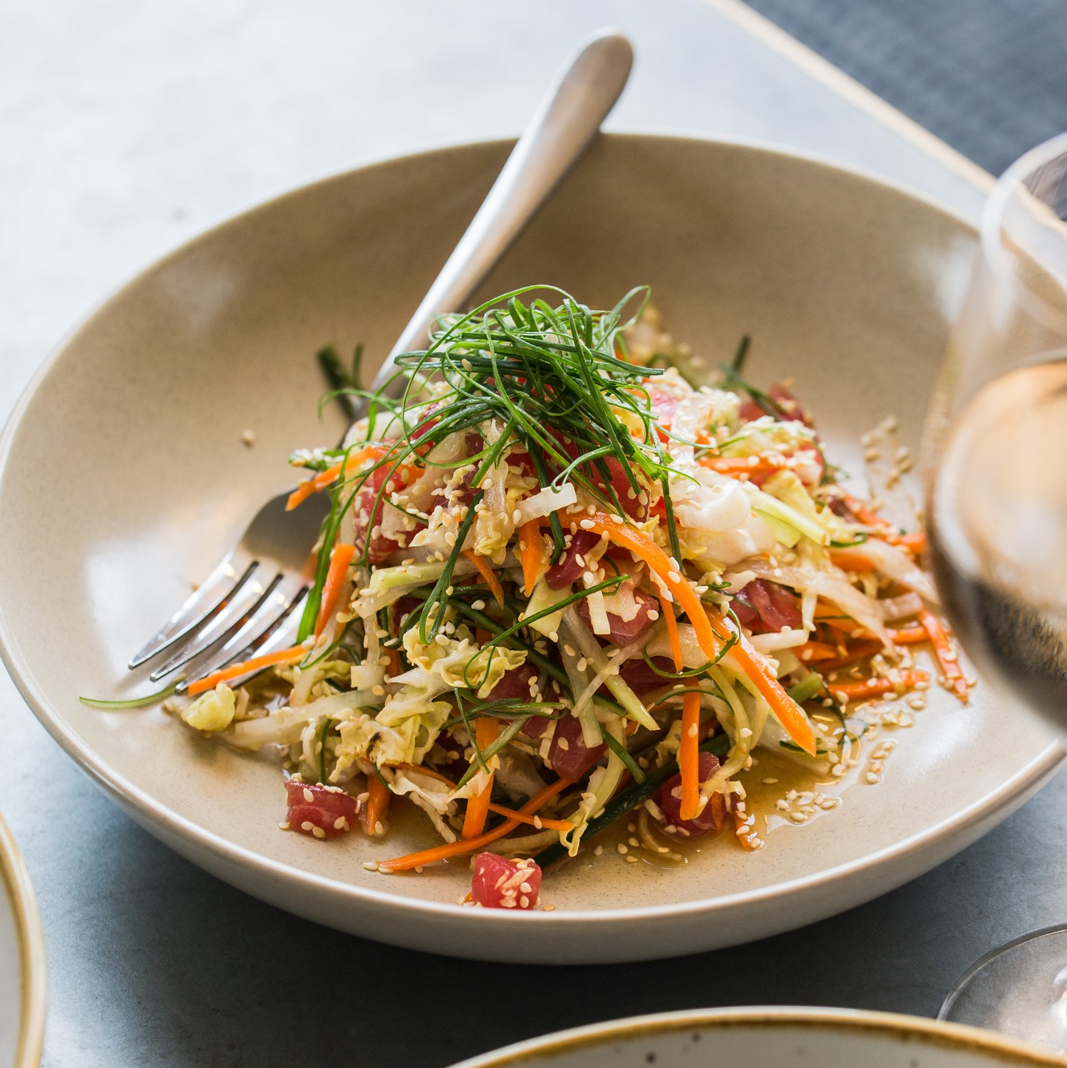 Raw Tuna | shredded cabbage, cucumber, daikon, carrot, shallot, sesame & soy-ginger dressing (GF) | 24