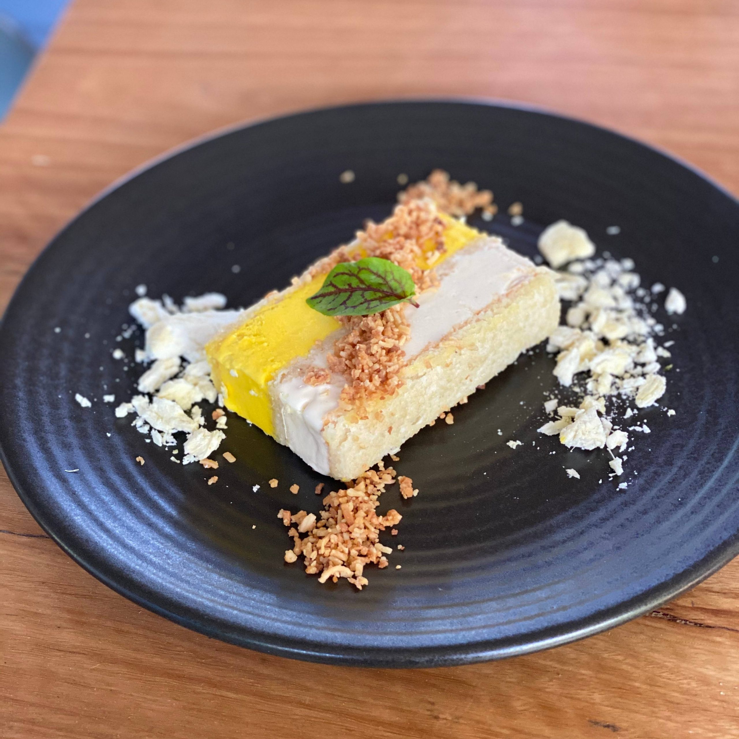 Tropical Dacquoise Slice | coconut dacquoise, coconut crumbs, freeze-dried pineapples  14