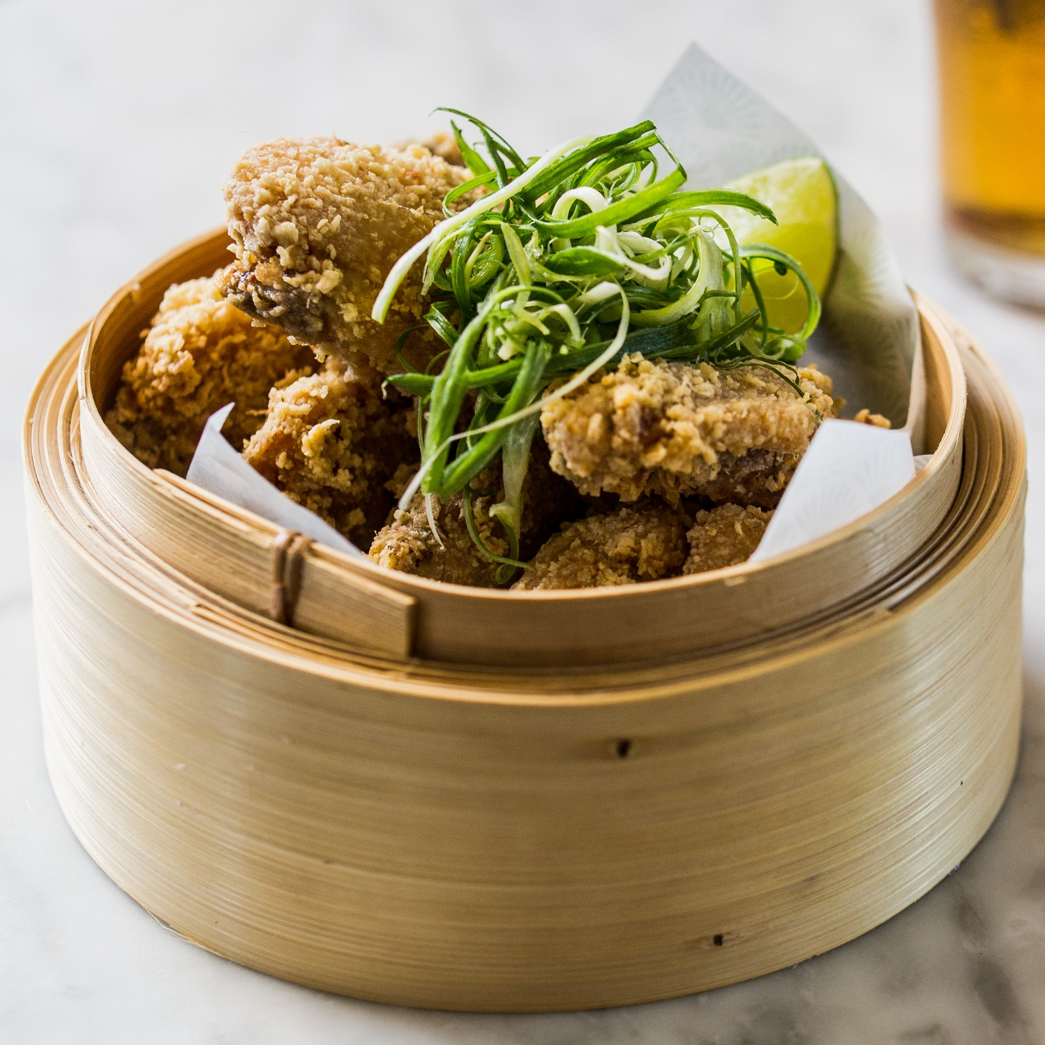 Deep-Fried Chicken Wings | Asian-style marinade, lemongrass, kaffir lime leaves, garlic, chilli flakes | 16