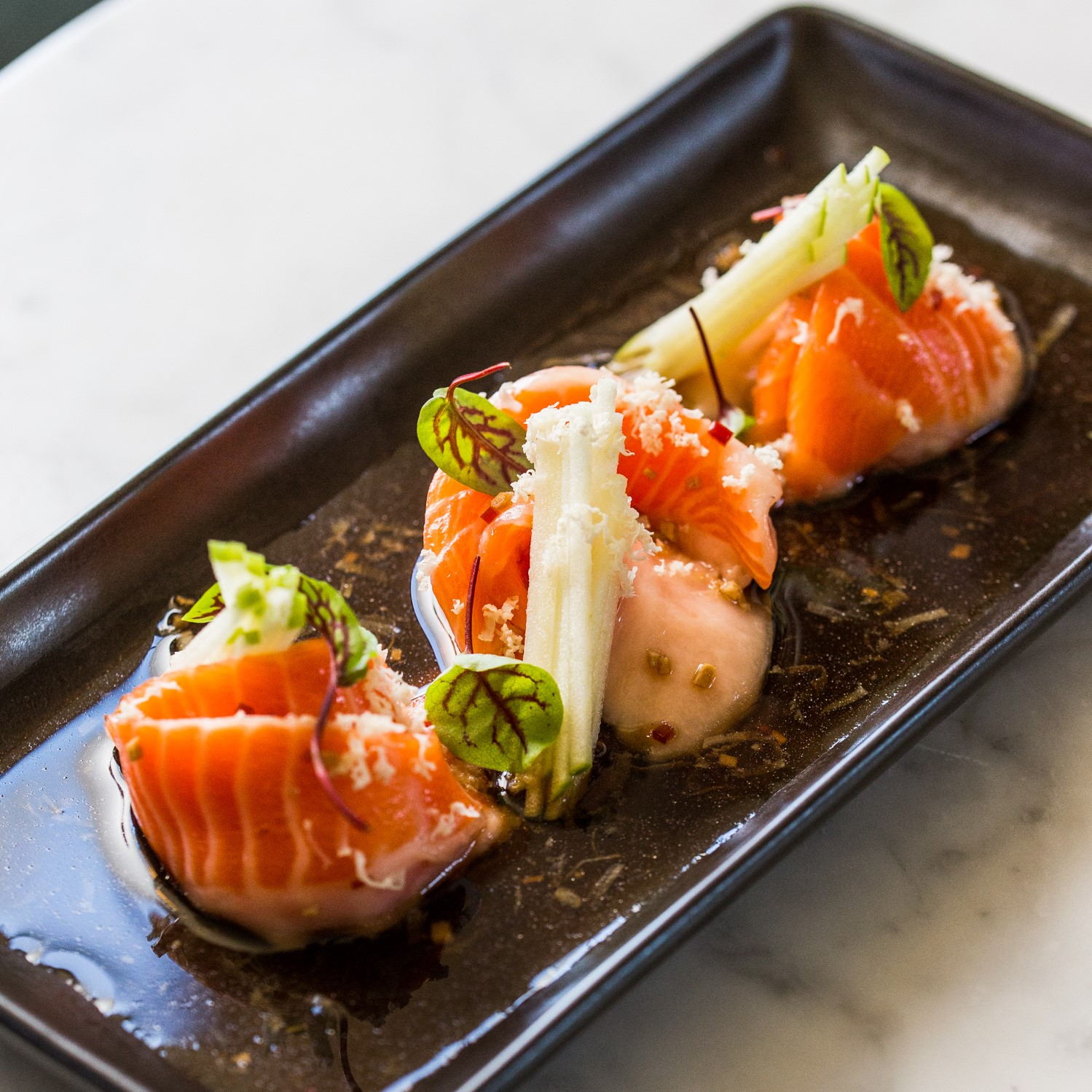 Ocean Trout Sashimi | soy chilli ginger-lime dressing, horseradish (GF) | 18